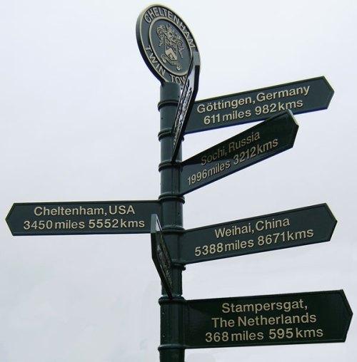 Cheltenham's twinning signpost