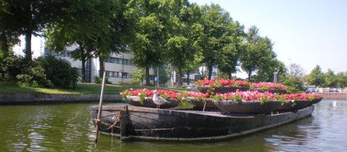 Flower display on a barge on the river in Stampersgat