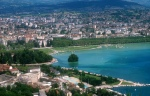 Annecy's lake town aerial view
