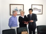 Andrew North and Barbara Driver with Weihai official - April 2012