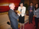 Andrew North receiving a gift from Weihai official - April 2012